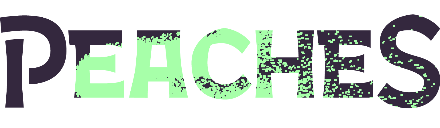 A recoloured version of the Peaches logo, this time in pixelated blobs of black and bright green